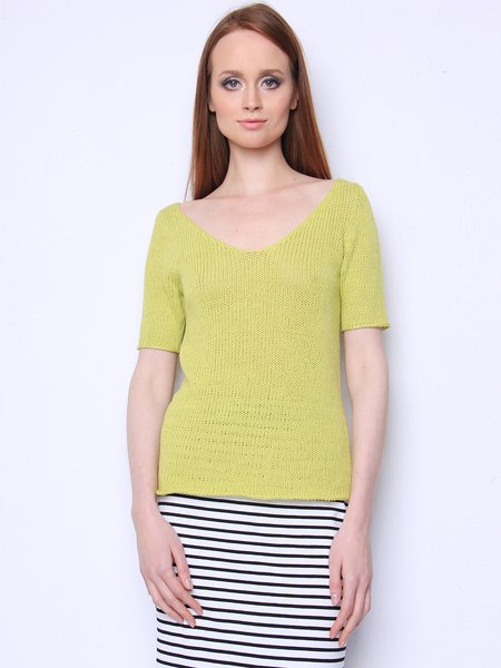 Bright Green Solid Short Sleeve Knitted V Neck Simple Sweater
