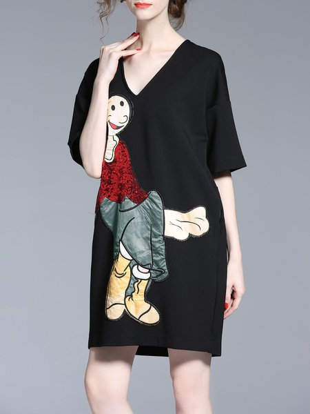 Short Sleeve V Neck Cartoon Printed Cute H-line Mini Dress