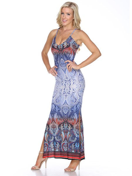 Blue Paisley Sheath Spaghetti Holiday Dress
