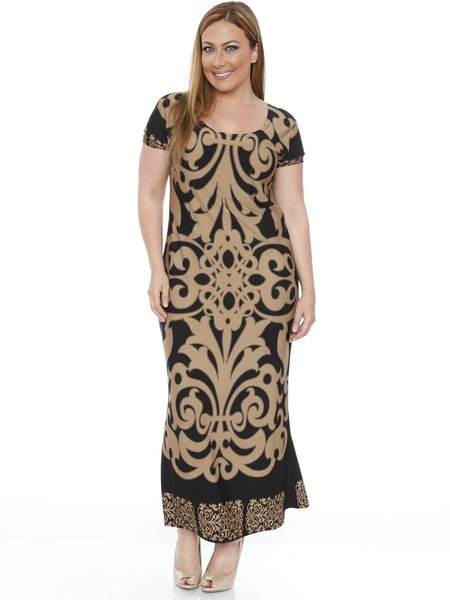 Black-beige Short Sleeve Sheath Printed Scoop Neckline Plus Size Holiday Dress