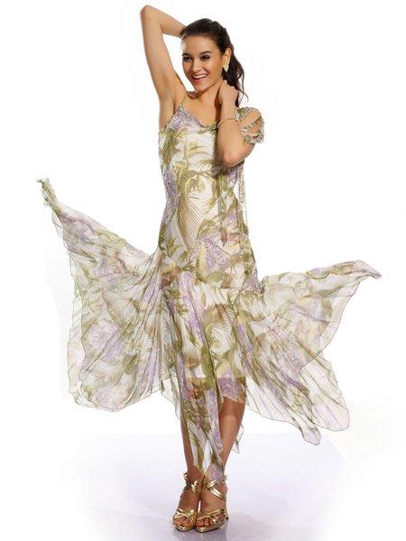 Beaded Floral-print Elegant Sleeveless Sheath Chiffon Party Dress