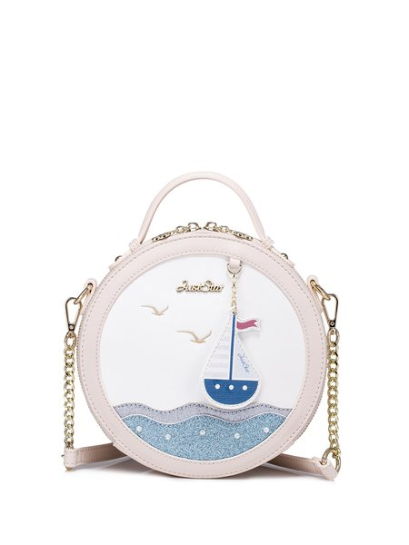 PU Sweet Zipper Round Crossbody Bag