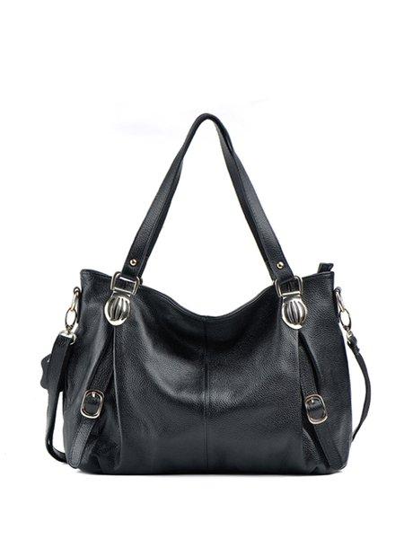 Large Casual Soid Full-grain Leather Zipper Shoulder Bag