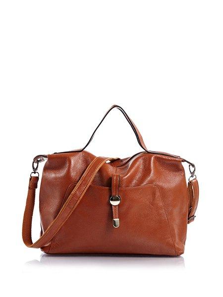 Large Solid Full-grain Leather Casual Zipper Shoulder Bag