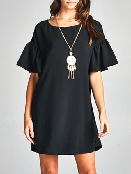 Black Simple Bell Sleeve Crew Neck Solid Shift Mini Dress
