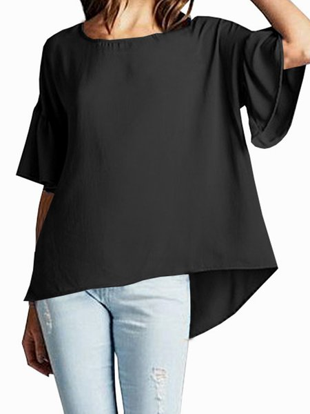 Black Half Sleeve High Low Solid Crew Neck Tunic