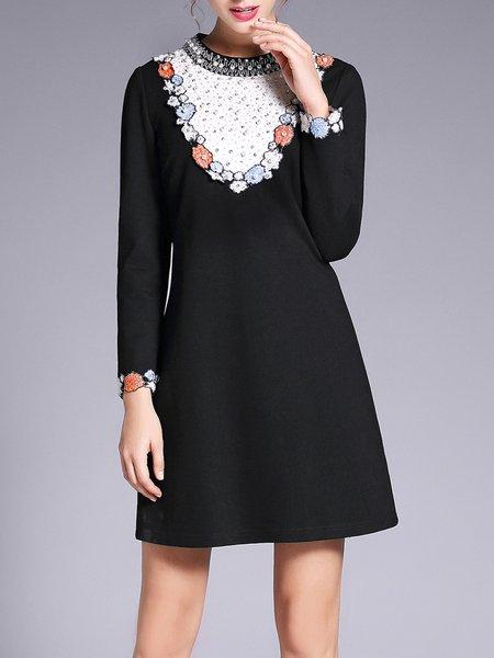 Stand Collar Casual A-line Long Sleeve Beaded Mini Dress