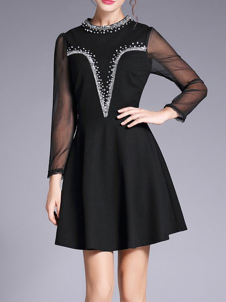 Black Stand Collar Beaded Long Sleeve Mini Dress