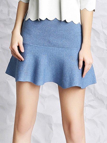 Light Blue Solid Girly Mermaid Ruffled Knitted Mini Skirt
