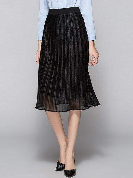 Black Pleated A-line Casual Midi Skirt