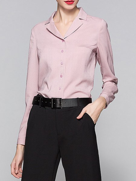 Pink Solid Buttoned Simple Long Sleeve Lapel Blouse