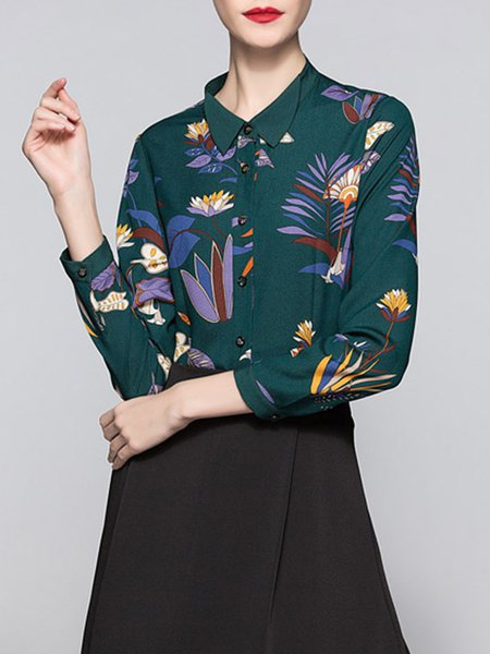 Green Long Sleeve Simple Printed Floral Blouse