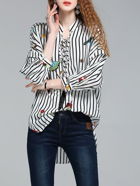 White Stand Collar 3/4 Sleeve Cute Printed Stripes Blouse