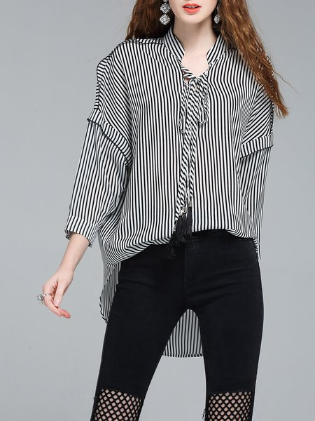 Black Stripes High Low Printed 3/4 Sleeve Blouse