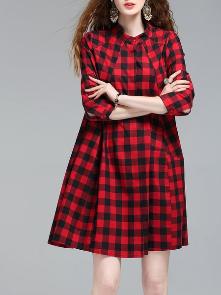 Red Crew Neck 3/4 Sleeve Gingham Midi Dress
