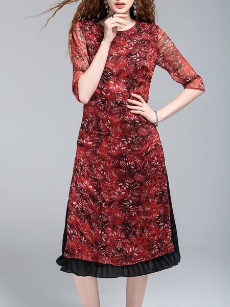 Red 3/4 Sleeve Floral-print Crew Neck Midi Dress