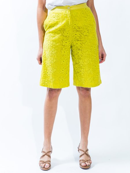 Citrus Guipure Lace Casual Cotton-blend Plus Size Cropped Pants