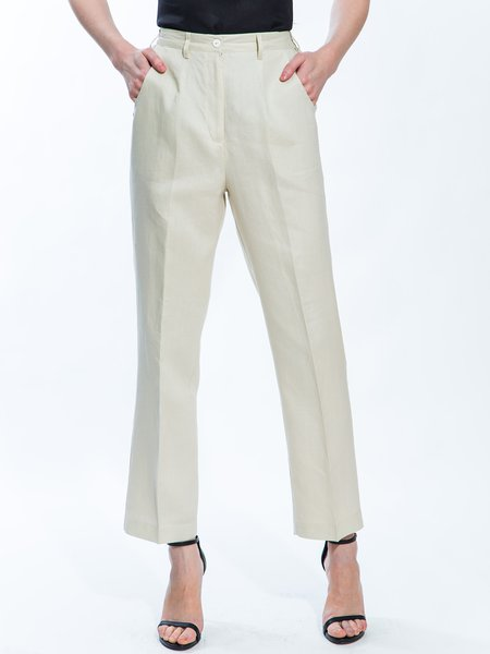 Beige Pockets Simple Straight Leg Pants