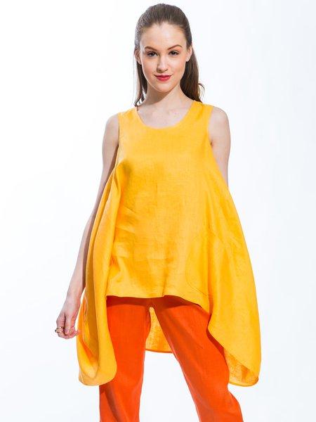 Orange Crew Neck Asymmetrical Casual Linen Tunic