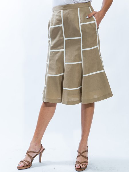 Khaki Casual Sheath Linen Geometric Fit and Flare Midi Skirt ...