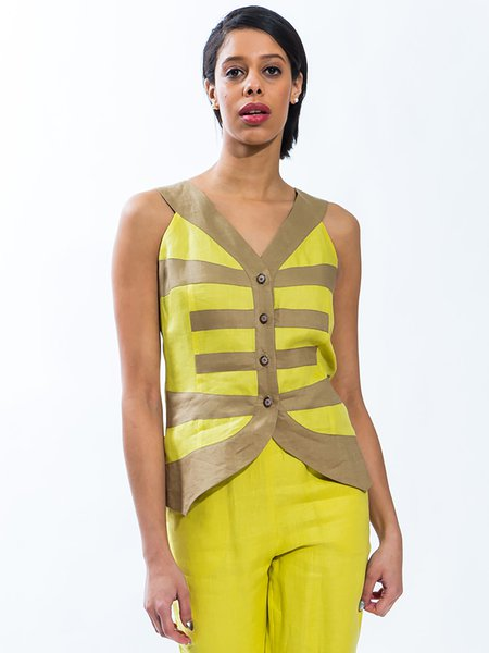 Yellow Linen Color-block Casual Stripes Vest And Gilet