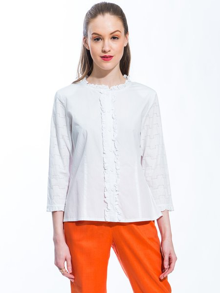 White Plain Cotton Casual Ruffled Neck Blouse