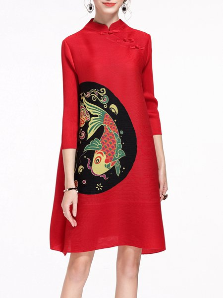 3/4 Sleeve Vintage Stand Collar Animal Shift Midi Dress