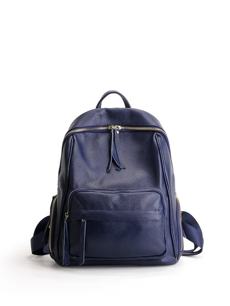 Large Zipper Solid Full-grain Leather Casual Backpack