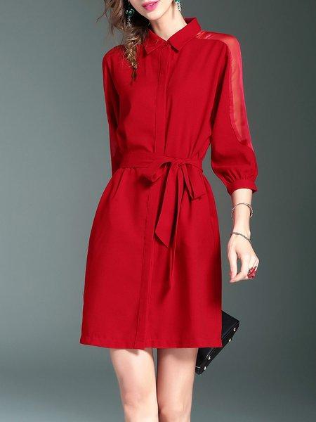 Solid 3/4 Sleeve Sheer Paneled A-line Casual Mini Dress