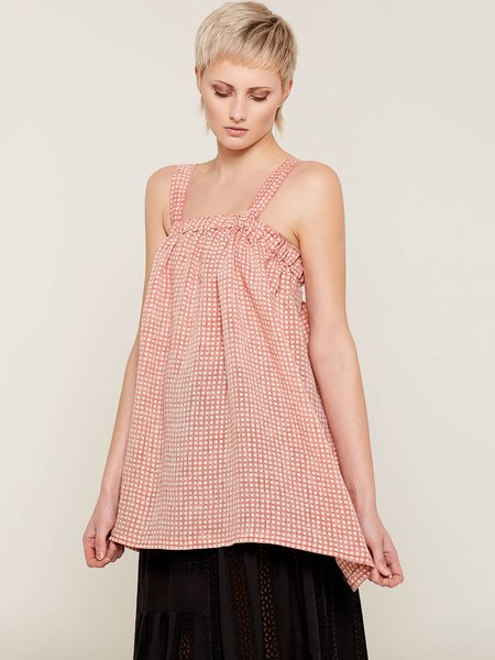 Rose A-line Checkered/Plaid Spaghetti Tank And Cami