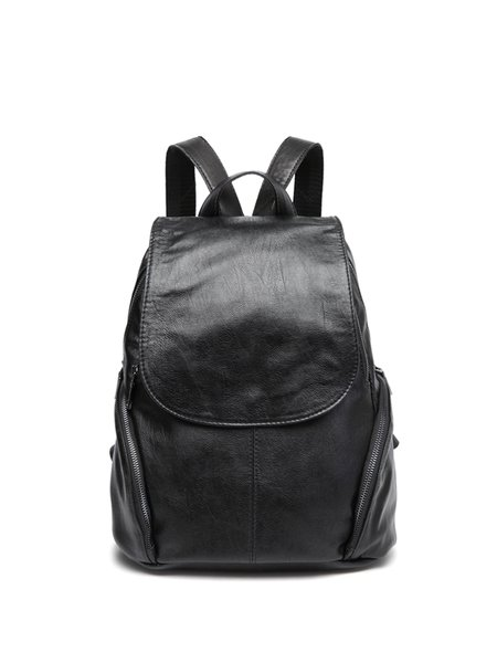 Black Zipper Casual Plain Cowhide Leather Backpack - StyleWe.com