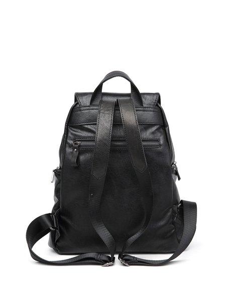 Black Zipper Casual Plain Cowhide Leather Backpack - StyleWe.com