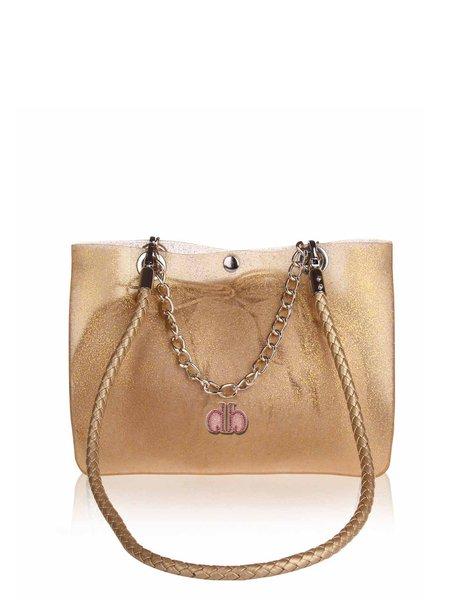 Golden-Color Resin Casual Snap Jelly Shoulder Bag with Inside Bag
