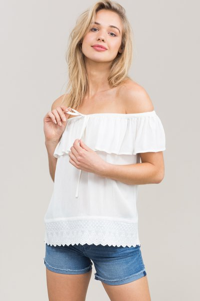 White Ruffled Boho H-line Tops