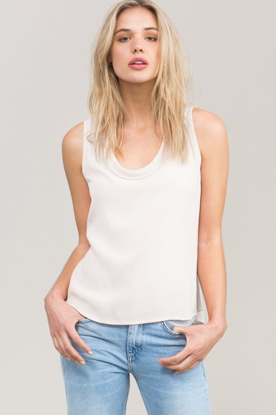 White Casual Scoop Neckline Woven Tank And Cami
