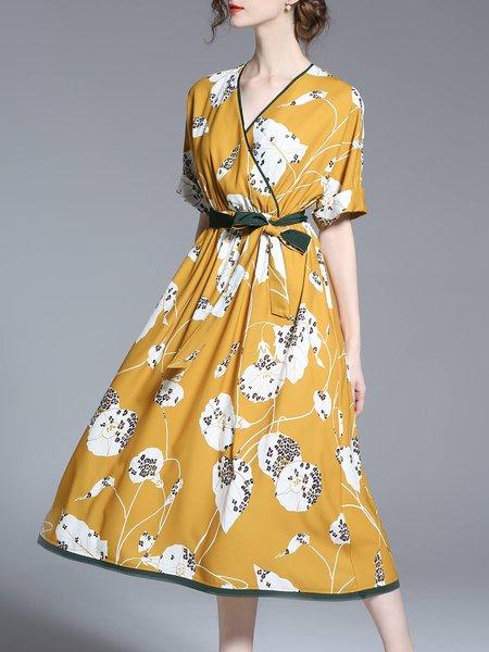 Floral  V Neck Elegant Wrap Dress