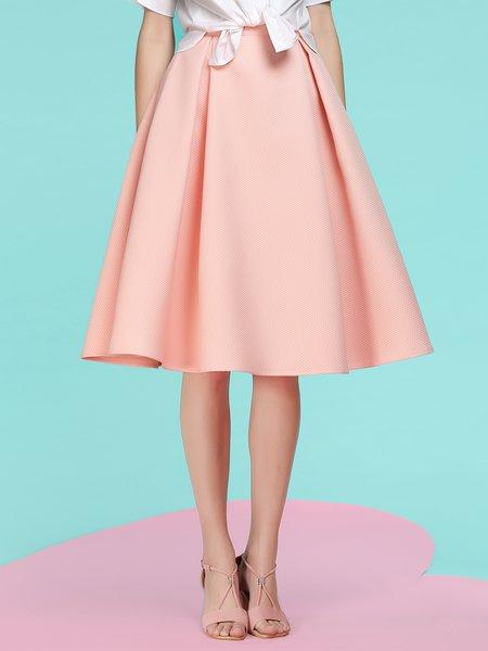 Pink Jacquard Folds Spandex Casual Midi Skirt