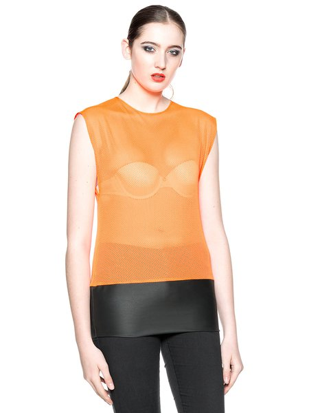 Orange Mesh Sleeveless Paneled Tank