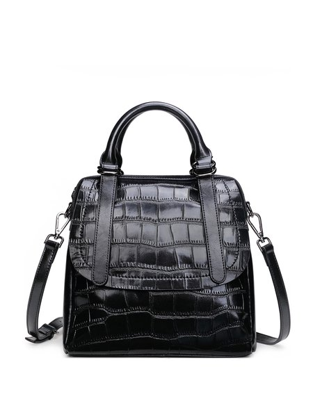 Embossed Zipper Cowhide Leather Casual Crossbody Bag