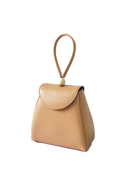Neutrals Magnetic Casual Solid Split Leather Top Handle