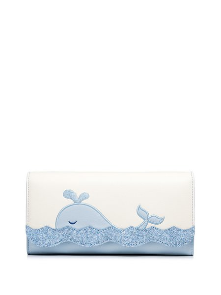 Light Blue PU Magnetic Sweet Whale Wallet