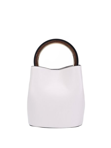 White Magnetic Solid Cowhide Leather Simple Top Handle