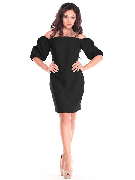 Black Elegant Off Shoulder Cotton-blend Shirred Midi Dress
