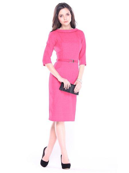 Red Half Sleeve Slit Cotton-blend Crew Neck Work Dress with Belt