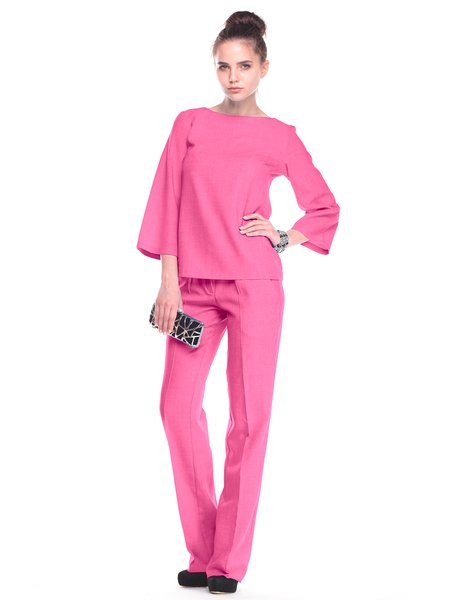 Red Long Sleeve Simple Cotton-blend Solid Two Piece Jumpsuit