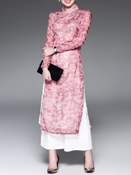 Floral Print Two Piece Stand Collar Long Sleeve Maxi Dress