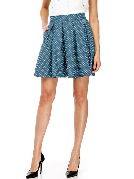 Light Blue A-line Folds Casual Poplin Mini Skirt