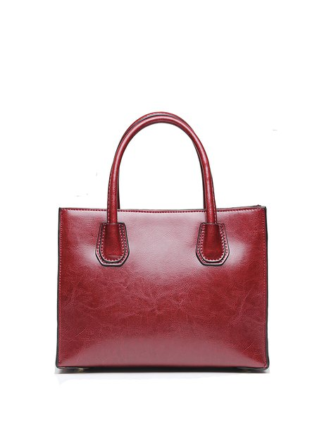 Solid Zipper Simple Cowhide Leather Top Handle