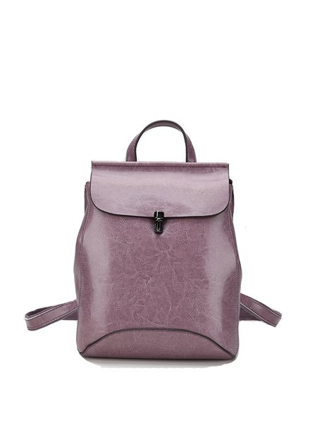 Push Lock Casual Solid Cowhide Leather Backpack