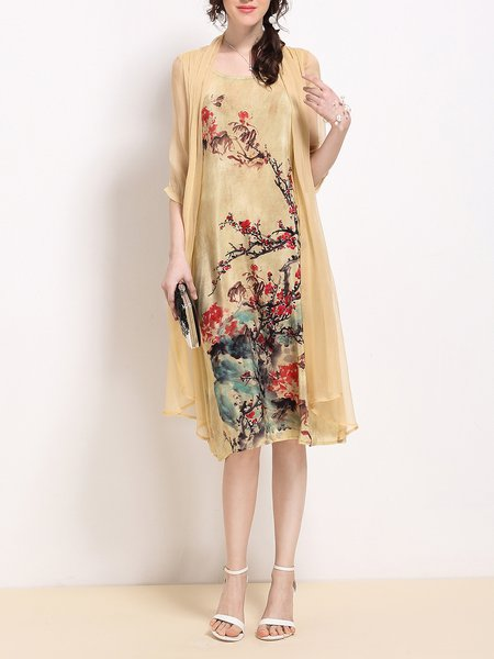 Printed 3/4 Sleeve Floral Silk Vintage Style Midi Dress